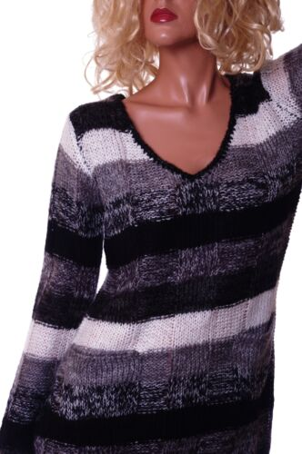 Womens V Neck Black /& White Grey Gray Striped  LS Sweater Top Shirt Small NEW