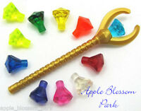 Lego Pharaoh's Quest Gold Staff Minifig Treasure Weapon W/11 Jewel Rock Gems