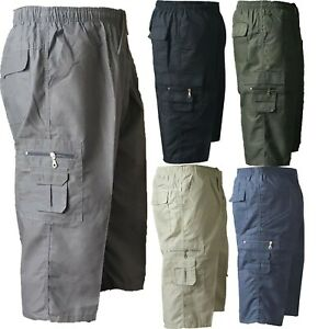 MENS-NEW-PLAIN-SUMMER-ELASTICATED-WAIST-3-4-SHORTS-COTTON-CARGO-COMBAT-PANTS