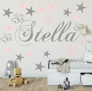 Wandtattoo Kinderzimmer Namen 19 Schmetterlinge+Sternen Baby ...