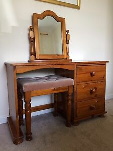 new style 0241e a5ea2 Details about Solid Antique Pine Dressing Table With Stool & Mirror And  Bedside Cabinet