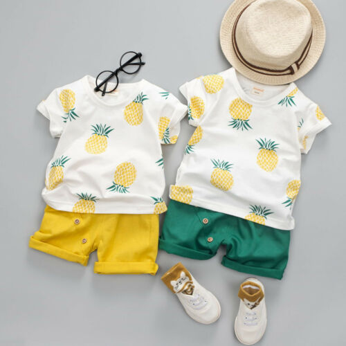 2Pcs Summer Baby Toddler Kids Boys Clothes Pineaple T-shirt Tops Pants Outfits
