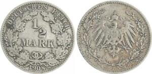 Empire 1/2 Mark Silver J.16 1908 J, 8 From 7 Changed (3) Very Fine