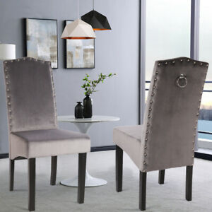 6 Types Fabric Dining Chairs Set Of 2 4 High Back Padded Seat Kitchen Furniture Ebay