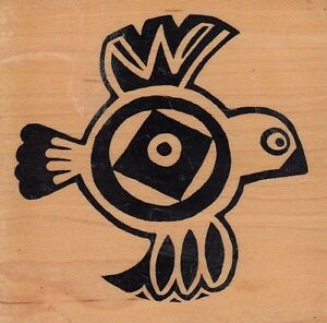 aztec-bird-psx-Wood-Mounted-Rubber-Stamp-3x-3-034-Free-Shipping