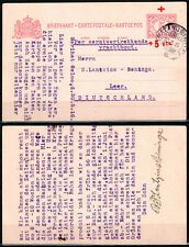 Netherlands Indies 1916 Pematang Siantar RED CROSS Post Card to Germany. SCARCE!