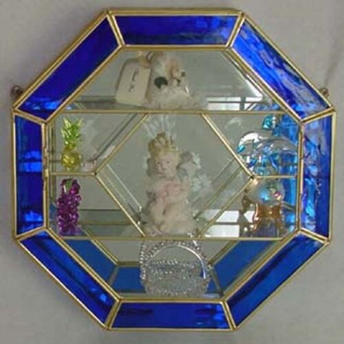 12X12 Stained Glass /& Brass Octagon shaped CURIO CABINET DISPLAY CASE Blue Trim