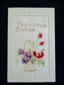 Old-Antique-Collectable-Embroidered-To-My-Dear-Sister-Post-Card