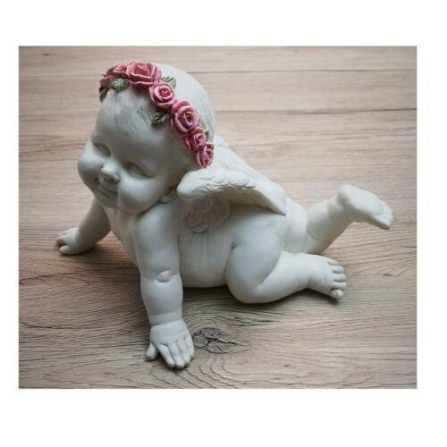 Engel Deko Figur PINK ROSES 15 cm weiß liegend Weihnachten Geschenk syo011