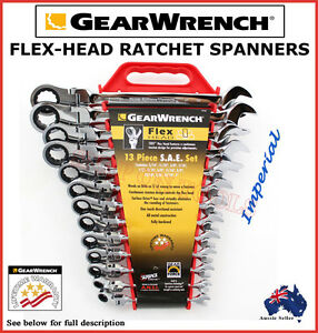 GEARWRENCH-13PC-FLEX-HEAD-RATCHET-SPANNER-SET-TRADE-QUALITY-TOOLS-CRV