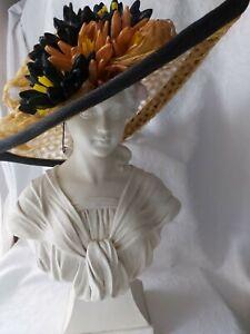 BEAUTIFUL HARRODS MARZI FIRENZE AUTUMN COLOURED NATURAL STRAW HAT.