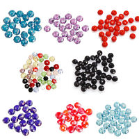 50/80pcs Lots Hot Rondelle Faceted Crystal Glass Loose Spacer Beads For Bracelet