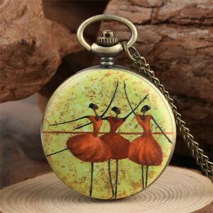 Vintage-Bronze-Elegant-Ballet-Dancer-Women-Quartz-Pocket-Watch-Necklace-Chain