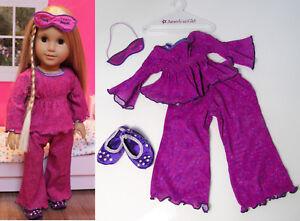 79b4b095a American Girl Doll Clothes PAISLEY PRINT PJS Pajamas Rhinestone Mask ...