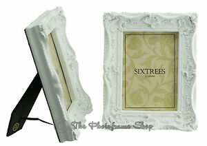 TWO-Shabby-amp-Chic-Vintage-Ornate-Antique-Matt-White-Photo-frames-7-034-x5-034-Picture