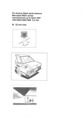 Mercedes 190E 190D W201 Aerial Antenna Antenne Grommet Seal 27.5°  2018270198