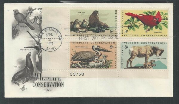 # 1464-1467 WILDLIFE CONSERVATION 1972 ArtCraft First Day Cover Plate Block (2)
