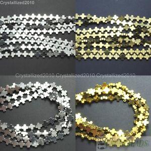 Natural-Hematite-Gemstone-Square-Cross-Beads-Metallic-6mm-8mm-10mm-12mm-16-034