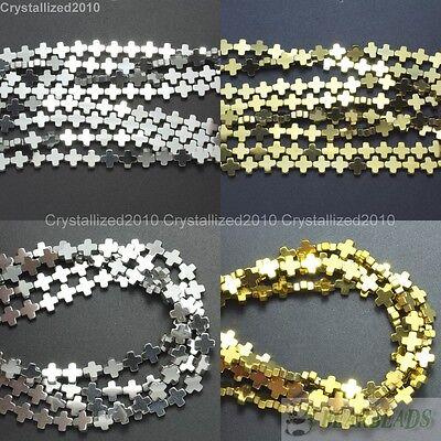 Natural Hematite Gemstone Square Cross Beads Metallic 6mm 8mm 10mm 12mm 16''