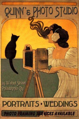 Cat Lady Photo Studio Camera Quinn Philadelphia Vintage Poster Repro FREE S//H