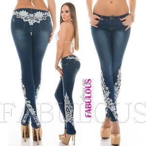 Women-039-s-Trendy-Skinny-Denim-Lace-Crochet-Jeans-Size-10-12-14-2-4-6-8-XS-S-M-L-XL