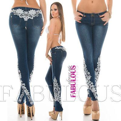 Women's Trendy Skinny Denim Lace Crochet Jeans Size 10 12 14 2 4 6 8 XS S M L XL