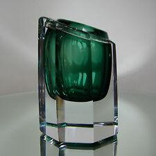 VAL ST LAMBERT / probabl. CHARLES GRAFFART / Splendide VASE Cristal doublé vert