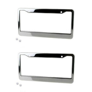 Chrome-License-Plate-Frame-Tag-Cover-Screw-Caps-Stainless-Steel-Silver-Color-SR