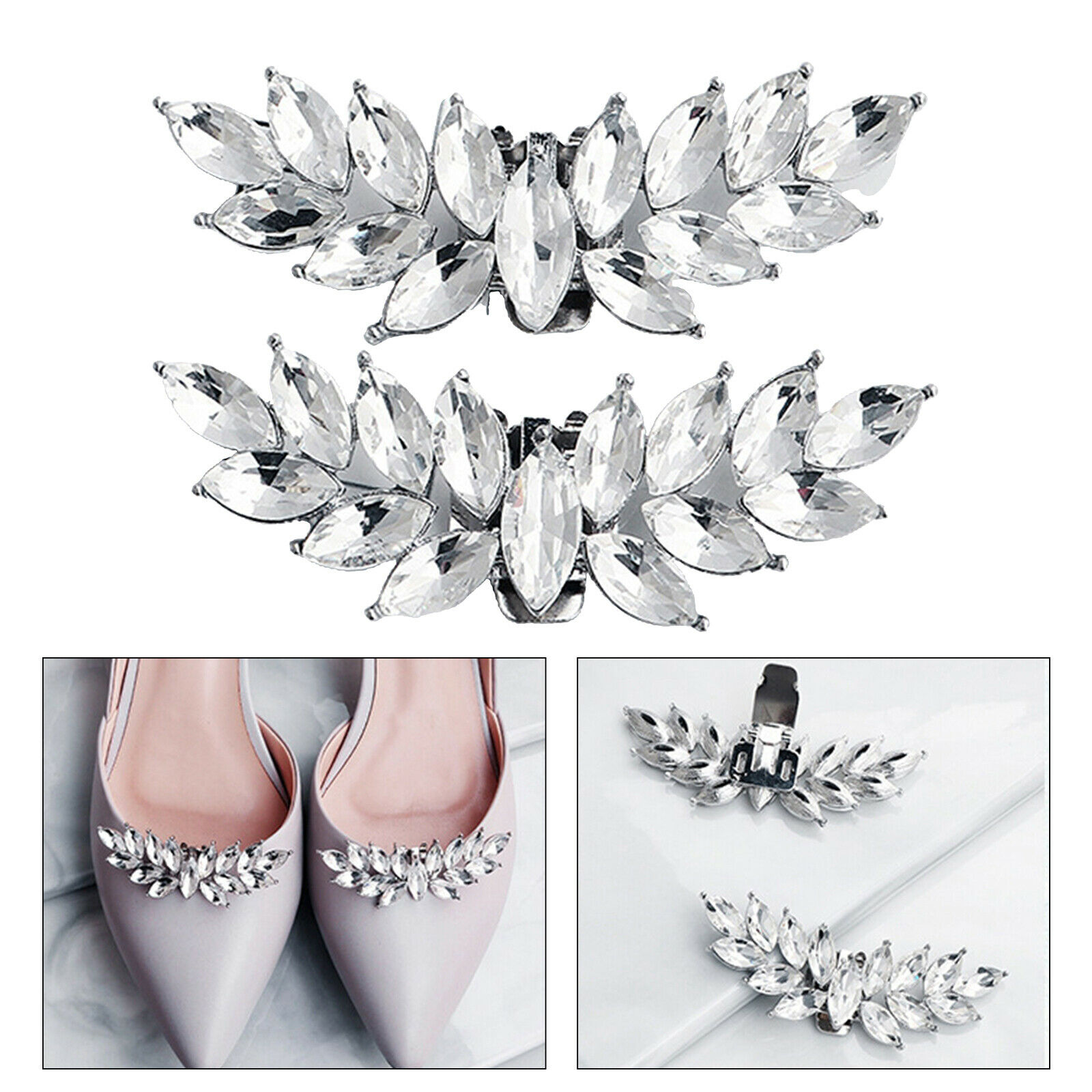 1Pair Rhinestone Bridal Shoe Clips Applique Patch with Beaded Crystal Decoration