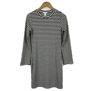H-amp-M-Womens-Pencil-Dress-Size-Medium-Slim-Long-Sleeve-Striped-Black-White