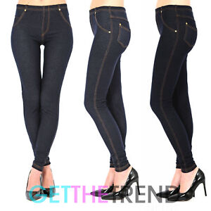 4404b6e0bd62 Womens Plus Size High Waisted Denim Look Blue Black Jeggings Jean ...