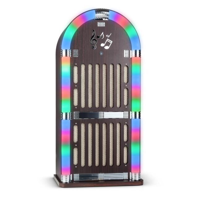 NEU AUNA MEMPHIS XXL JUKEBOX MUSIKBOX BLUETOOTH RADIO AUX LED CHROM DEKOR HOLZ