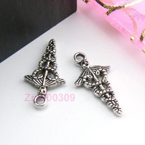 25Pcs Tibetan Silver Wing-snake mace Charms Pendants 12x23.5mm KA098