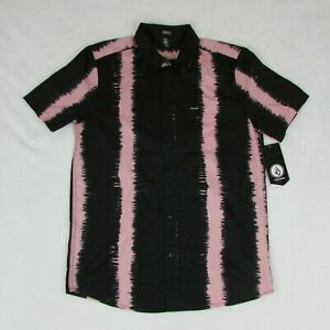 Volcom-Men-039-s-Button-Up-Short-Sleeve-Black-with-Pink-Stripes-Modern-Fit-NEW