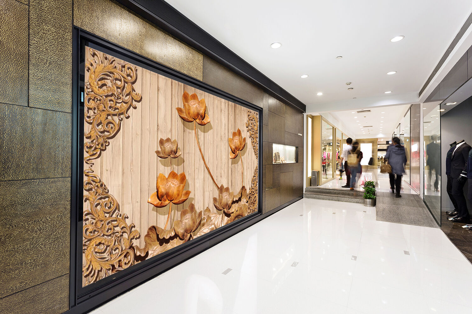 3D Engraved lotus 223 Wall Paper Wall Print Decal Wall Deco Indoor Wall Murals