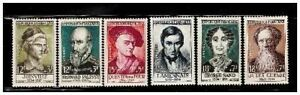 s23347-FRANCE-1957-MNH-Nuovi-Famous-persons-6v-Y-amp-T-1107-13
