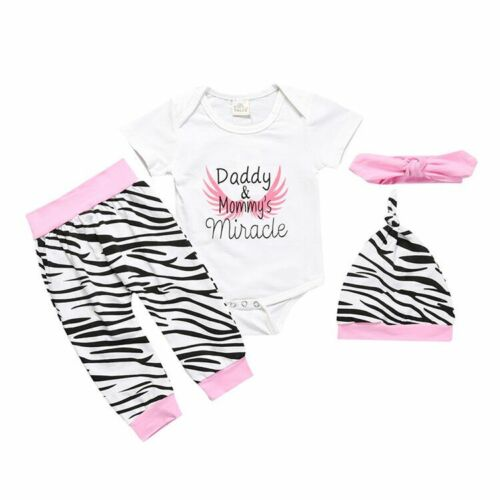 Newborn Infant Baby Boy Girl Outfit Clothes Romper Tops+Pants+Hat //Headwear Set