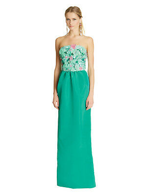 $7290 New Oscar de la Renta Seaform Green Teal Embroidered 3D Floral Silk Gown 8