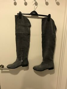 Leather Rrp Bnwt Uk Boots Studded Overknee Next Real Details 6 Eu £90 Grey About 39 Suede EH29YWID
