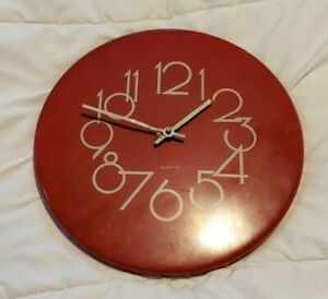 Details about VINTAGE 80s 70\'s Quartz Modern Wall Clock Red Kitchen Analog  MCM Mid Century
