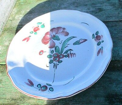 Antique French Faience Strasbourg Platter Luneville Flowers 18th 19th C 9.05