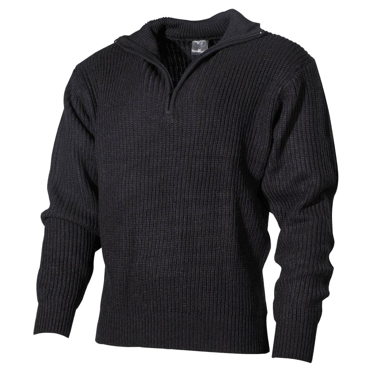 MFH Navy Pullover Acryl Herren Warm Jeden Tag Cadet Pflicht Militär Schwarz