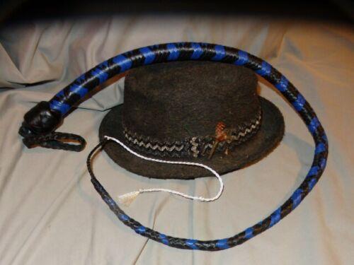 Kangaroo BLUE Leather Signal Whip//Singletail 3 ft 12 Plait Flogger Bullwhip