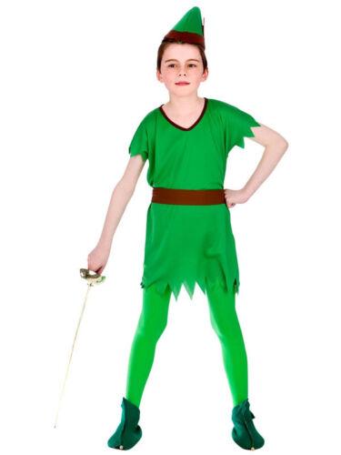 Boys Peter Pan Robin Hood Childrens Fancy Dress Childs Hunter Costume Ages 5-13