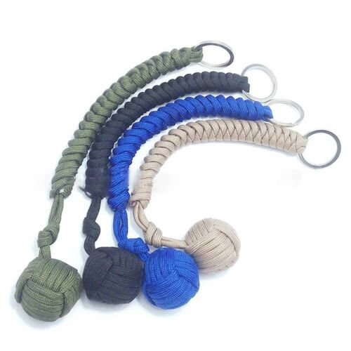 """Monkey Fist Paracord Keychain Chain Keyring 550 Steel Ball Survival Outdoor w///"""""""