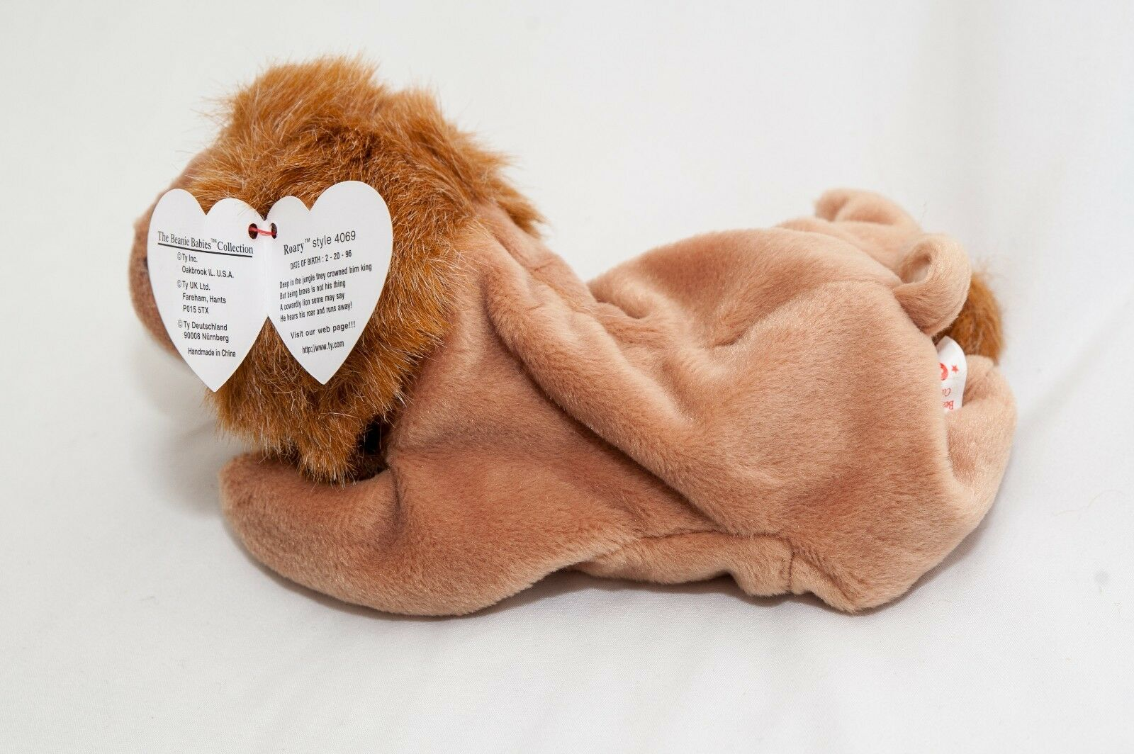 ROARY THE LION Ty Beanie Baby - NO RED STAR PRINTED - taped on star - 1996