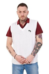 Men-s-Knitted-Bowling-Golf-White-Sleeveless-Acrylic-Jumpers-Sweaters-Tops-S-5XL