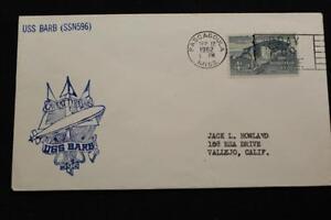 Naval-Cubierta-1962-Eslogan-Cancelado-de-BARCO-Cachet-Uss-Barb-SSN-596-3702