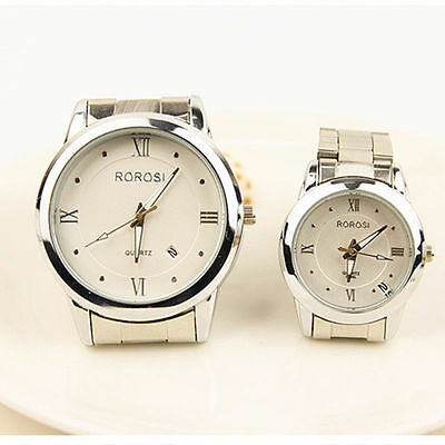Fashion Men Women's Couple Date Stainless Steel Band Analog Quartz Wrist Watch