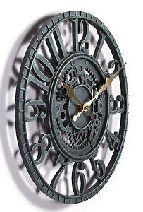 Outdoor-indoor-Garden-Wall-Clock-Hand-Painted-cog-wheel-clock-29cm